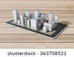 cell phone with 3d city... | Shutterstock . vector #363708521