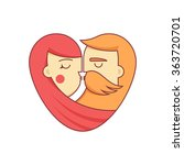 kissing couple logo in the form ... | Shutterstock .eps vector #363720701