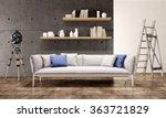 contemporary living room loft... | Shutterstock . vector #363721829