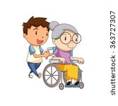 child caring old lady  vector... | Shutterstock .eps vector #363727307
