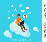 social media cloud chat flat 3d ... | Shutterstock .eps vector #363729725