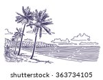 beach with palms vector drawing | Shutterstock .eps vector #363734105