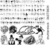 Thanksgiving set of black sketch. Part 1. Isolated groups and layers.