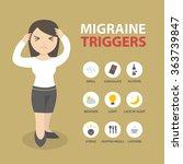 migraine triggers headache... | Shutterstock .eps vector #363739847