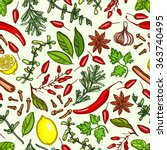seamless pattern with spices. ... | Shutterstock .eps vector #363740495