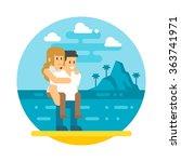 flat design couple piggyback ... | Shutterstock .eps vector #363741971