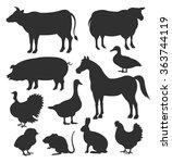 vector farm animal black... | Shutterstock .eps vector #363744119