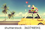 vintage yellow car with heart... | Shutterstock . vector #363748541