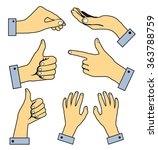 set of human pointing hands.... | Shutterstock .eps vector #363788759