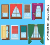window curtains and blinds set. ... | Shutterstock .eps vector #363793571
