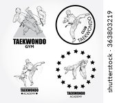 vector set of taekwondo logos ... | Shutterstock .eps vector #363803219