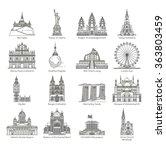 world landmark icon set   eps10