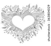 Coloring Page Flower Heart St...