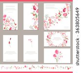 Stock vector floral spring templates with cute bunches of red tulips endless horizontal pattern brush for 363805649
