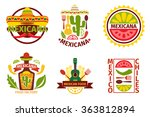 mexican food  logo  labels ... | Shutterstock .eps vector #363812894