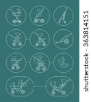 baby carriage line icons set.... | Shutterstock .eps vector #363814151