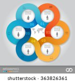 6 options linked circles in... | Shutterstock .eps vector #363826361