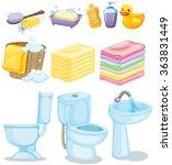 set of bathroom equipments... | Shutterstock .eps vector #363831449