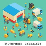 isometric moving cargo and... | Shutterstock .eps vector #363831695