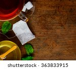 top vew of tea  tea bag and... | Shutterstock . vector #363833915