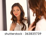 young woman looking herself... | Shutterstock . vector #363835739