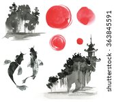 hand drawn ink sumi e elements  ... | Shutterstock . vector #363845591