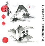 hand drawn ink sumi e elements  ... | Shutterstock . vector #363845645