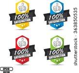 100  satisfaction label and... | Shutterstock .eps vector #363850535