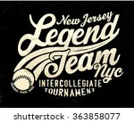 vintage college tee print...   Shutterstock .eps vector #363858077