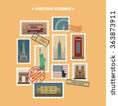Set Of Travel Postage Stamps ...