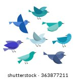 Set Of Different Flying Birds...
