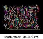 neon colors on a black... | Shutterstock .eps vector #363878195