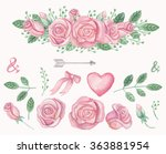 watercolor pink roses.floral... | Shutterstock . vector #363881954