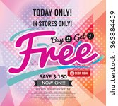 buy 2 get 1 free promotion... | Shutterstock .eps vector #363884459