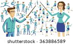 business people silhouettes... | Shutterstock . vector #363886589
