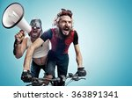 two nerdy guys with a megaphone | Shutterstock . vector #363891341