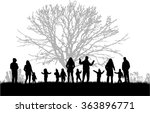 family silhouettes in nature. | Shutterstock .eps vector #363896771