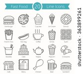 set of 20 fast food line icons  ... | Shutterstock .eps vector #363899261
