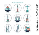 travel and tourism icons.... | Shutterstock .eps vector #363906899