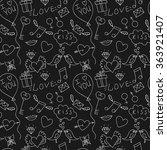 hand drawn love seamless... | Shutterstock .eps vector #363921407