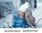 cute little girl in warm... | Shutterstock . vector #363924704