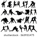 group of mma fighters vector... | Shutterstock .eps vector #363931475