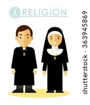 catholic christian priest and... | Shutterstock .eps vector #363945869