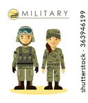 soldier man and woman in... | Shutterstock .eps vector #363946199
