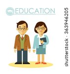 education concept with teacher... | Shutterstock .eps vector #363946205