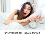 shocked young woman waking up...   Shutterstock . vector #363950435
