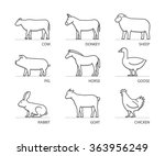 vector silhouettes farm animals ...