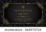 Invitation card - black and gold vintage style