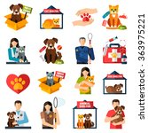 Animal Shelter Icons Set With...