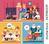 Happy Family  Watching Tv ...